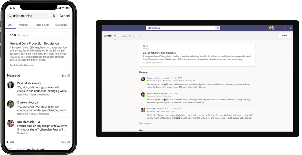 Acronym answers in Microsoft Teams desktop and mobile