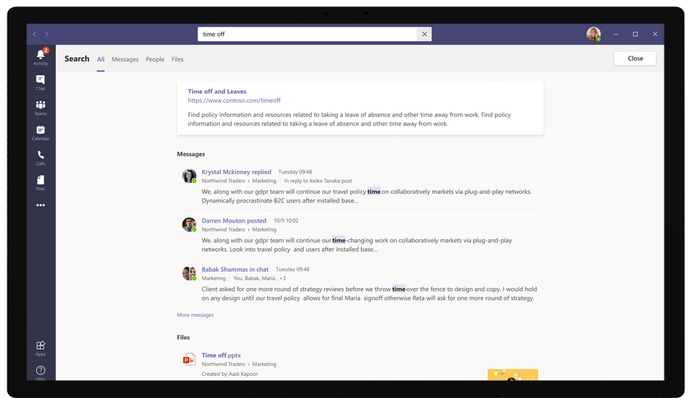 Microsoft Search in Microsoft Teams