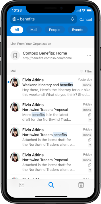 Microsoft Search in Outlook mobile