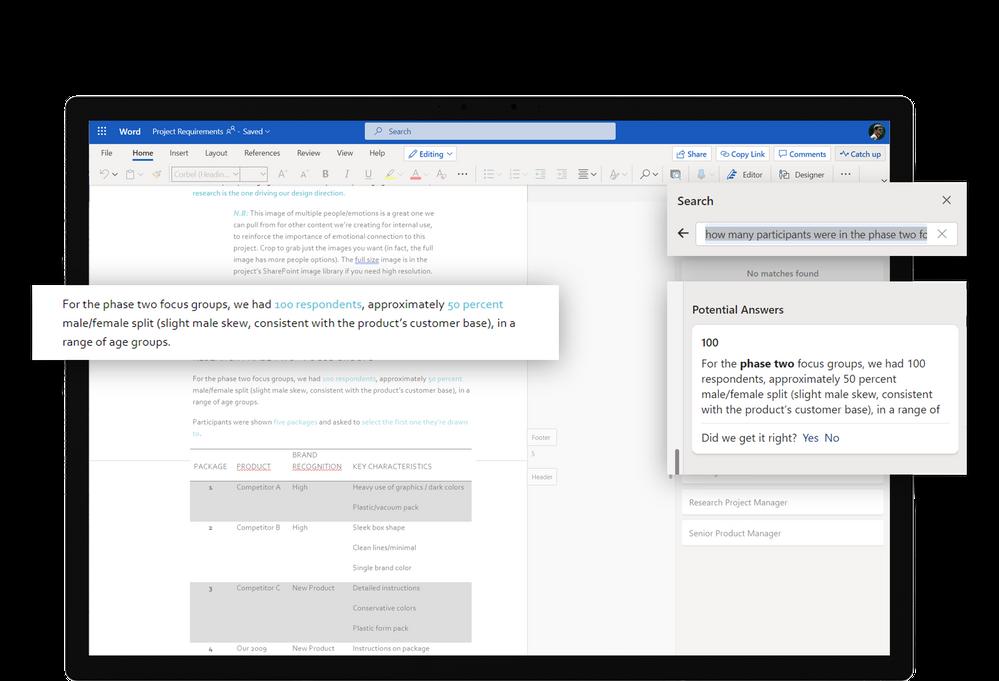 Microsoft Search in Microsoft Word