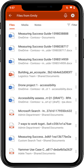 Microsoft Search in Office mobile