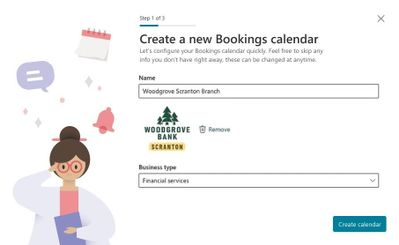 Quickly create a new Bookings calendar - Name your calendar and define the type