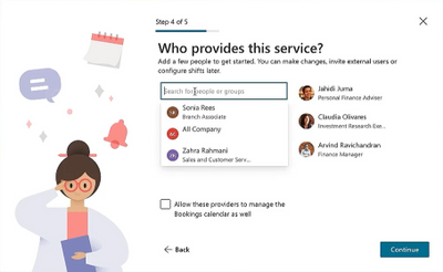 Quickly create a new Bookings calendar - Add staff members in the service creation flow