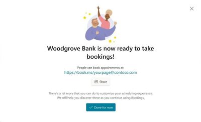 Quickly create a new Bookings calendar - Publish and share your booking page