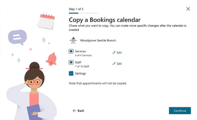 Copy elements from an existing Bookings calendar when you create a new one