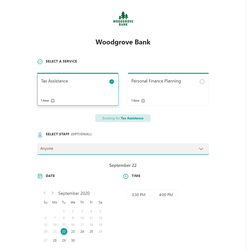Improved experience for end-users booking appointments on the web-based scheduling page