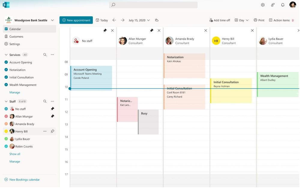 Updates to the Bookings web app enhance the experience to help you manage appointments more easily