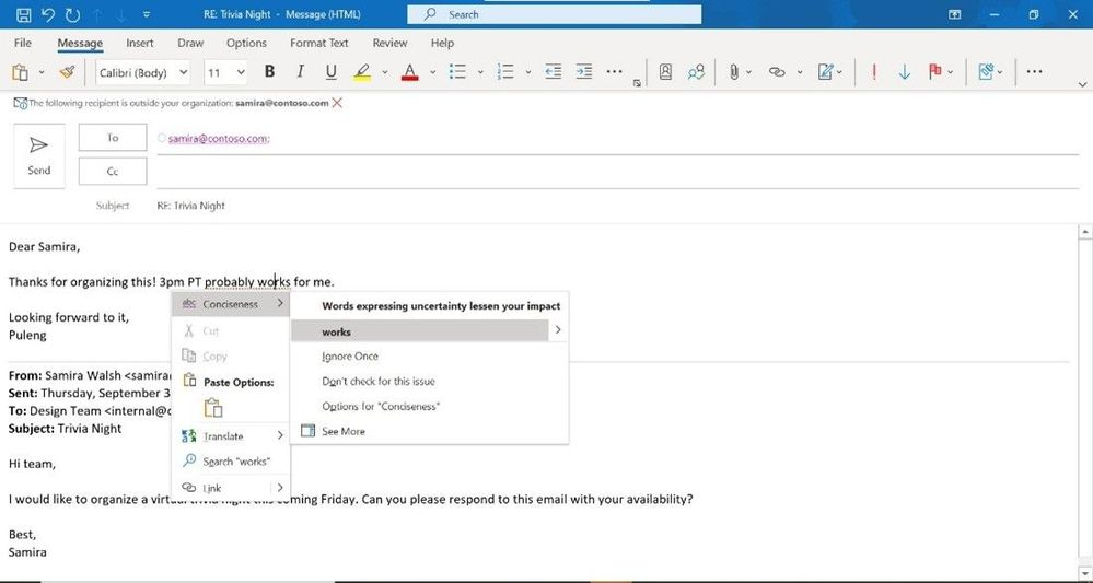 Spelling, synonyms, grammar, suggested refinements with Editor in Outlook for Windows