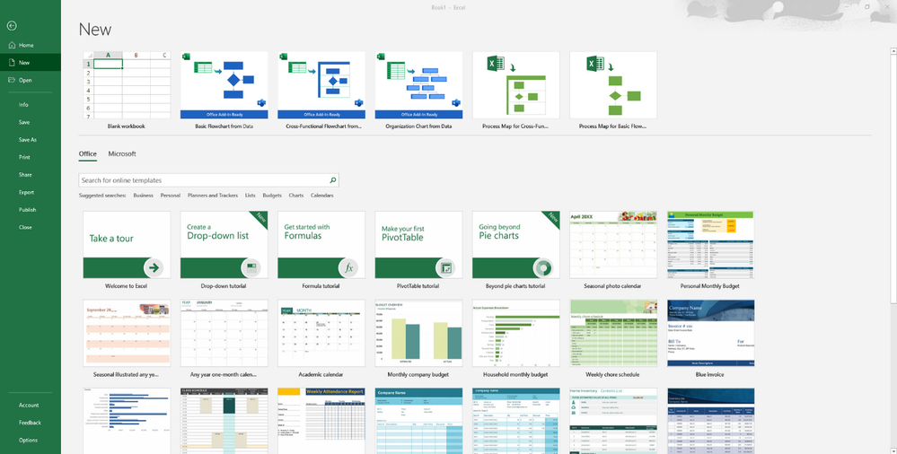 Three new Data Visualizer add-in templates available in the Excel backstage