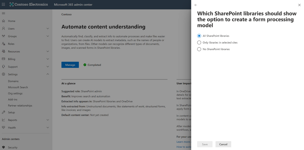 SharePoint Syntex setup experience