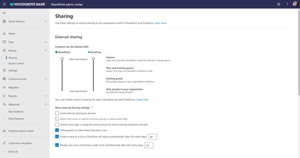 Figure. SharePoint admin center external sharing settings
