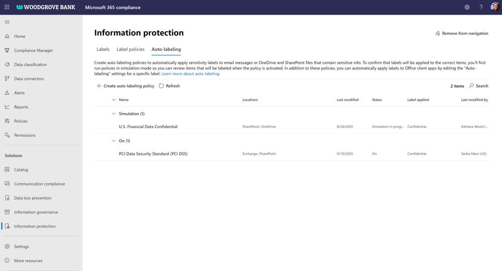 Figure. Microsoft 365 compliance center showing auto labelling modes