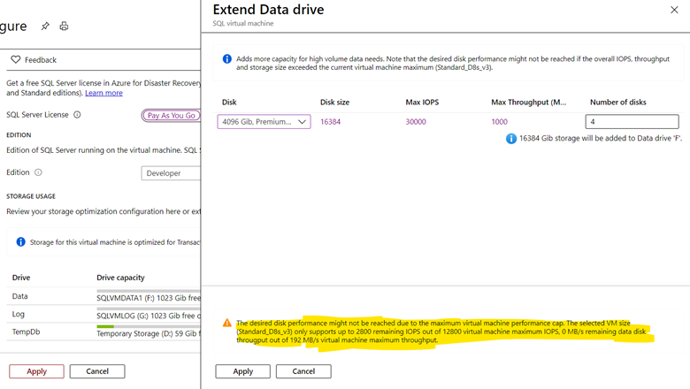 Configure your storage settings on Azure SQL VM