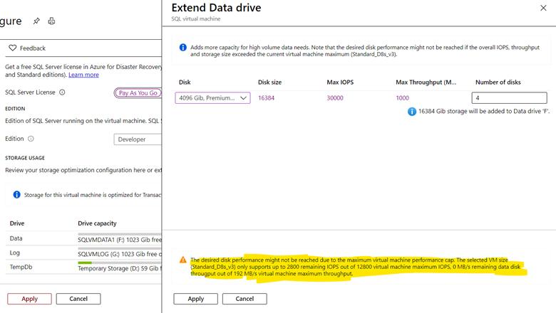 Configure your storage settings on Azure SQL VM