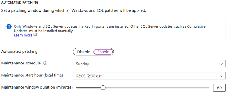 Patch your Azure SQL VM using scheduled windows