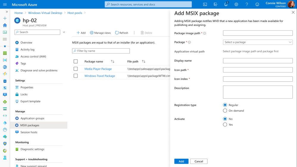 Figure 2: Adding an MSIX package from Azure portal