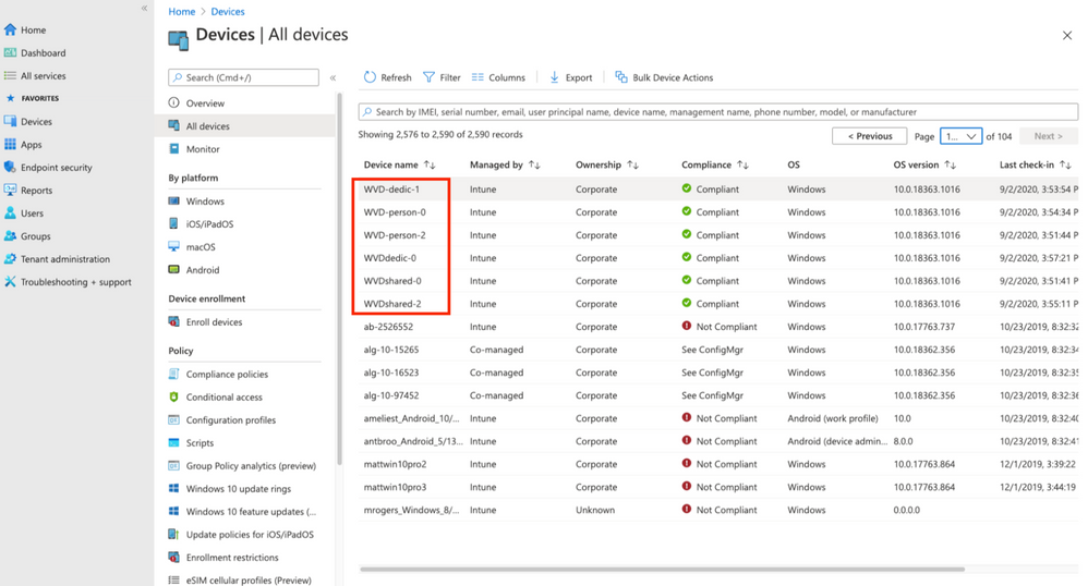 Figure 1: All devices view in Microsoft Endpoint Manager