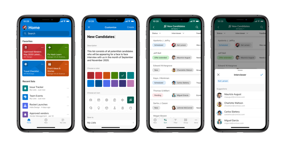 The Microsoft Lists app for iOS, showing various screens from left-to-right: Home page with favorite and recent lists, creating a list from ready-made templates, viewing lists items in a list, and editing a list item.