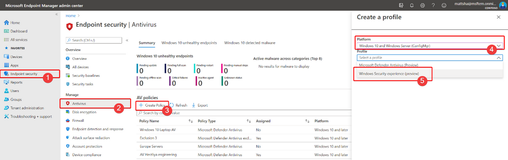 Windows security experience policy in Endpoint security.png