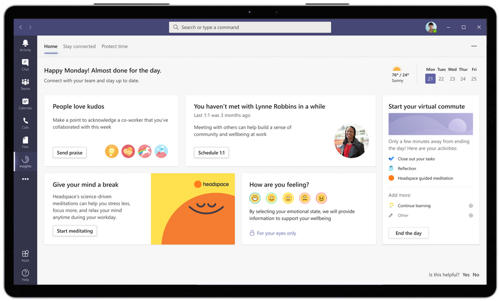 Wellbeing and productivity insights in Microsoft Teams