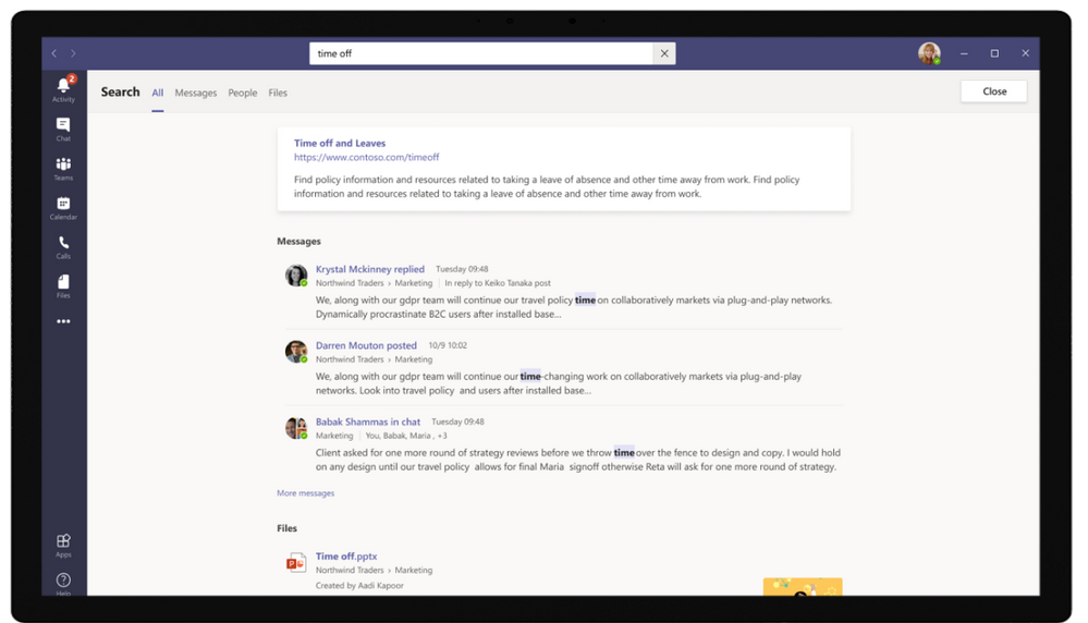New search experience in Microsoft Teams powered by Microsoft Search.