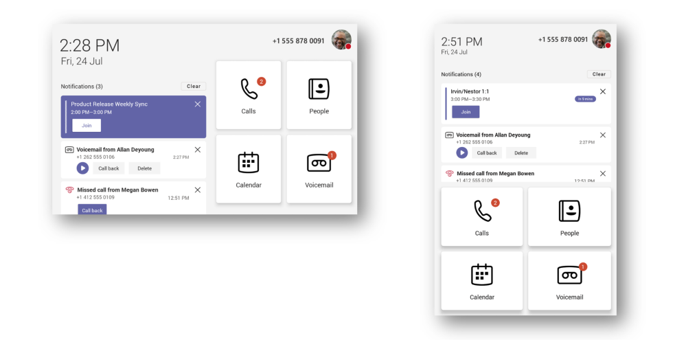 Home screen with meeting reminders