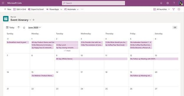 Calendar view helps visualize list items that contain date information across the month.