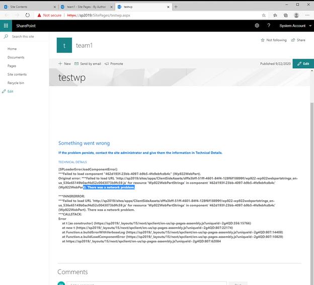 SPFx Web Part Error in SharePoint 2019 On premise environment
