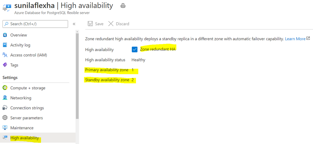 Screenshot from the Azure Portal depicting an Azure Database for PostgreSQL flexible server in a zone-redundant HA configuration, with the primary server in Availability Zone 1 and the standby server in Availability Zone 2.