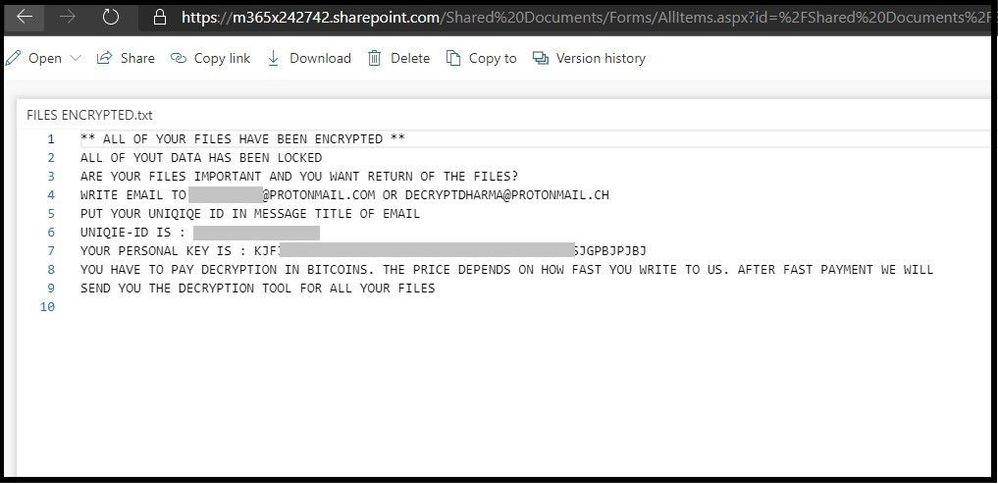 Ransomware Payment Message