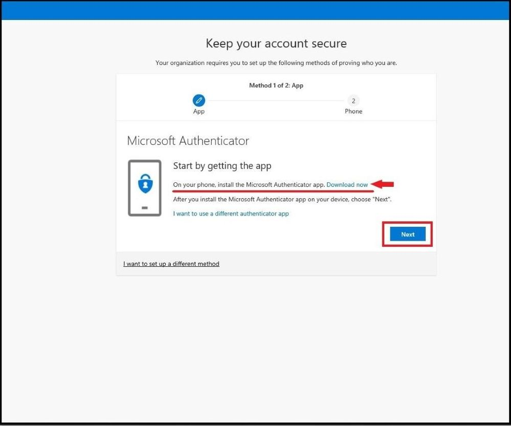 Download the Microsoft Auth App