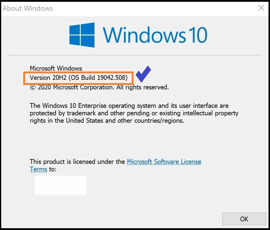 Checking version of WIN 10