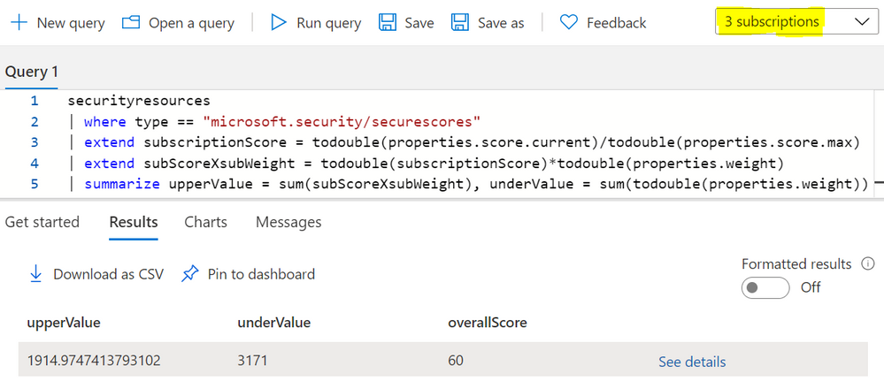 Figure 4: overall secure score query result