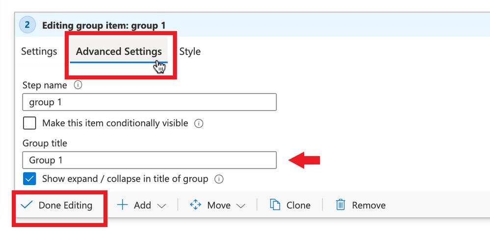 Figure 8: change group title