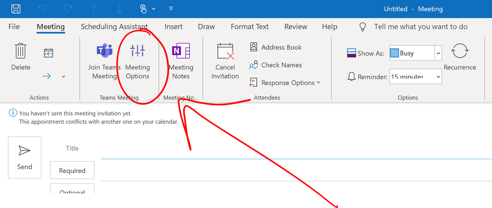 Microsoft Teams Meeting Options in Outlook