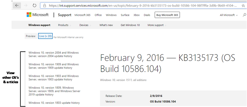 Quickly find information for other versions of Windows with the Windows update history pages