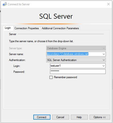 SSMS test connection 1