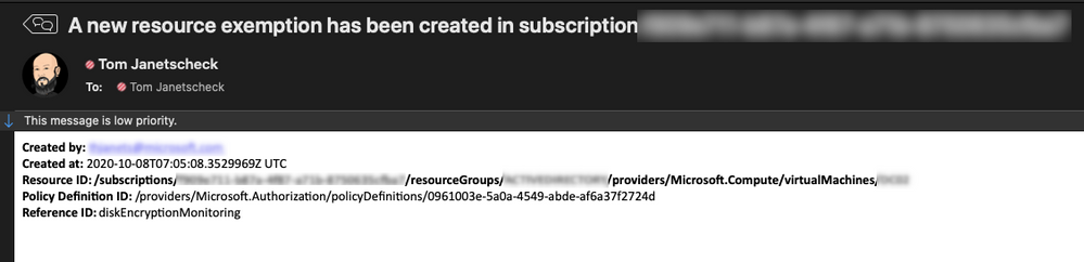 Figure 7 – example email generated from the playbook