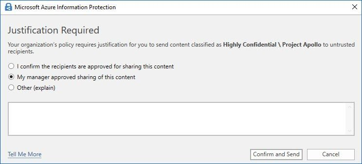 "Figure 5: Default ""Justification"" pop-up message in Outlook."