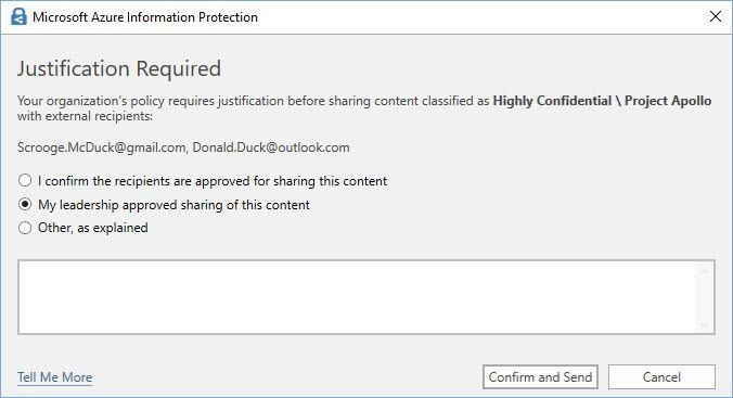 "Figure 6: An example of a customized ""Justification"" pop-up message in Outlook."