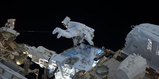 An astronaut on a space walk.