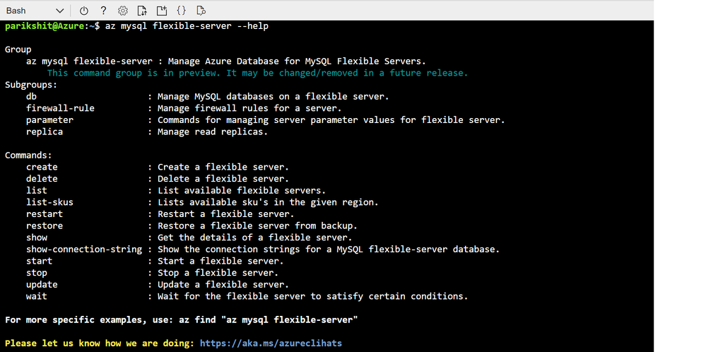 Screenshot showing output of -- help parameter command in Azure Cloud shell to enumerate list of all the commands supported by az mysql flexible-server cli