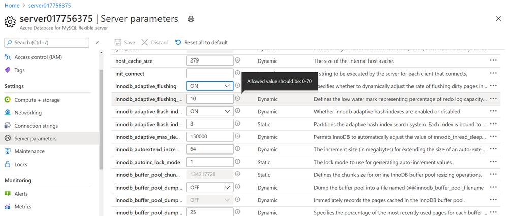 Screenshot showing Server parameter blade in Azure portal for Azure Database for MySQL – Flexible Server