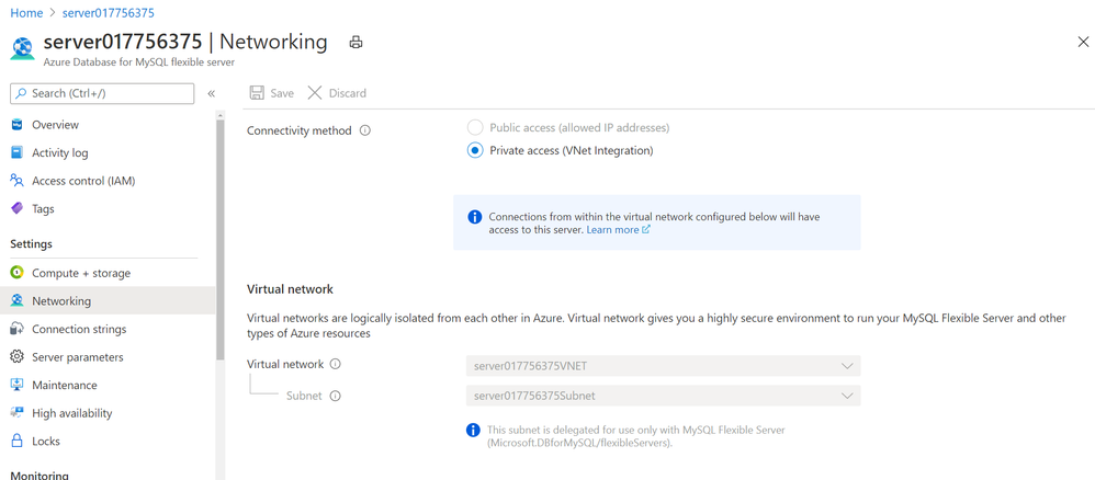Screenshot showing Networking blade in Azure portal for Azure Database for MySQL – Flexible Server