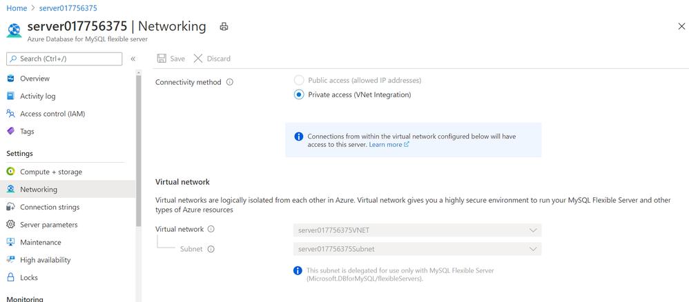 Screenshot showing Networking blade in Azure portal for Azure Database for MySQL – Flexible Server