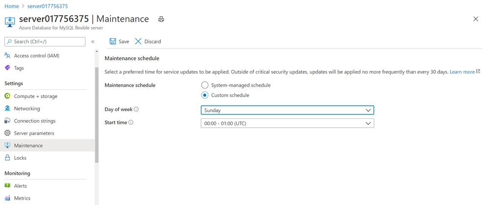 Screenshot showing Maintenance blade in Azure portal for Azure Database for MySQL – Flexible Server to schedule planned maintenance