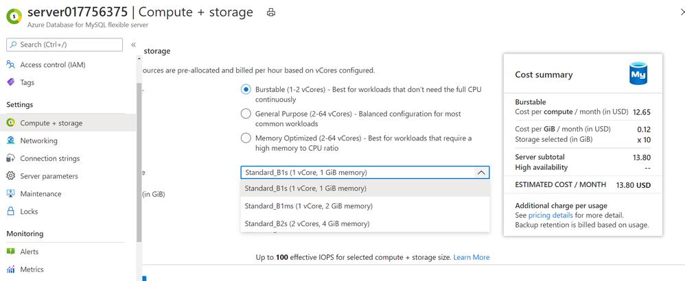 Burstable SKU choices available in Flexible Server on Azure Database for MySQL server