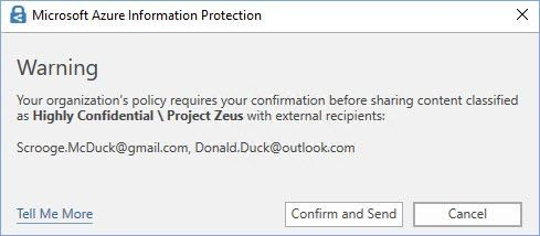 "Figure 4: An example of a customized ""Warn"" pop-up message in Outlook."