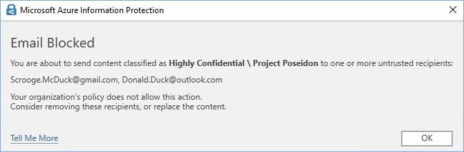 "Figure 1: Default the ""Block"" pop-up message in Outlook."