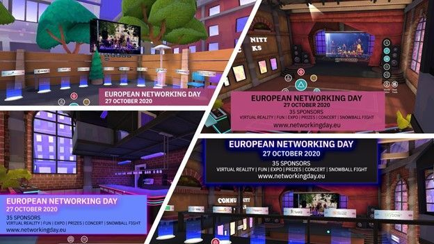 Additional screens to give you a preview of the European Networking Day VR experience.